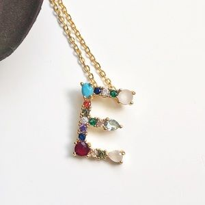 Jewelry - E monogram letter gold rhinestone necklace